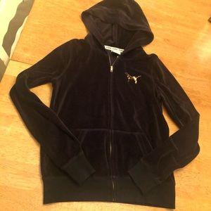 Pink zip up jacket velour with sequin bling Sz S
